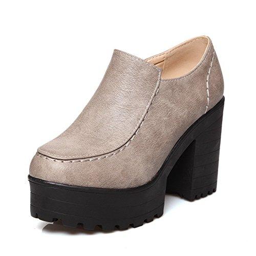 VogueZone009 Femme Pu Cuir Couleur Unie Zip Rond à Talon Haut Chaussures Légeres Gris