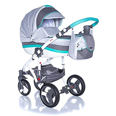 Baby Pram Pushchair Stroller Buggy Travel System Set Adamex Vicco + Baby Bag + Rain Cover + Mosquito Net + (2in1, R9 Mint Grey)