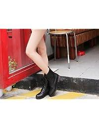 &ZHOU Botas otoño y del invierno botas cortas mujeres adultas 'cargadores de Martin Knight botas a30 , black , 47