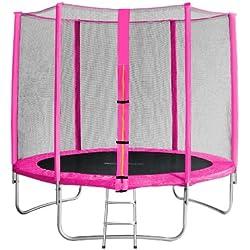 SixBros. Sixjump 2,45 M Trampoline de Jardin Rose - Filet de sécurité - Échelle - Housse de Protection TP245/1610