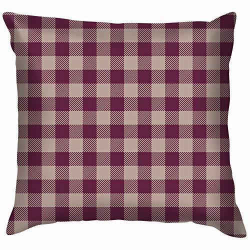 vintage cap Buffalo Check Plaid Purple Art Throw Pillow Case Cushion Cover Pillowcase Watercolor for Couch 18X18 Inch