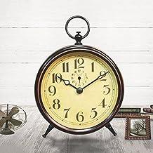 CJSHV- Relojes de escritorioEuropean tranquila pequeña mesa péndulo de metal a la antigua sala de
