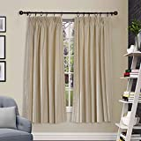 "Deco Window 2 Piece Pleated Curtain Shikha Beige 52""X90"" with white lining"