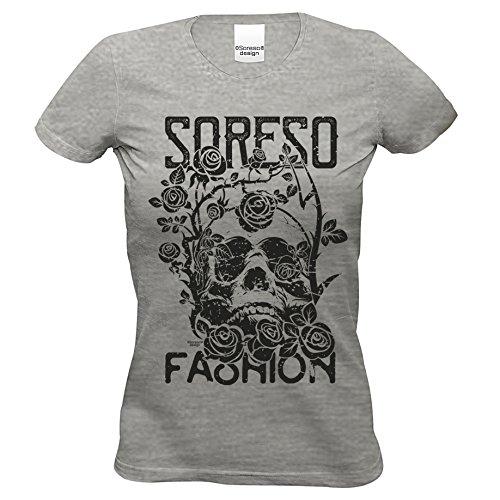 T-Shirt : Totenkopf : Skull Biker Freizeit Shirt für Frauen Mädchen : Halloween Outfit Farbe: Dunkelgrau Gr: M (Biker Halloween Kostüme Mädchen)