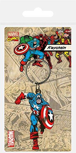Marvel Pyramid International Captain America en Caoutchouc Porte-clés, Multicolore, 4.5 x 6 cm