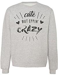 Cute But Effin' Crazy Cute Hearts Design Sudadera Unisex