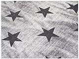 VmG-Store Tessuto in Jersey al Metro, da Cucire, per Bambini, per Vestiti, Magliette, Abbigliamento per Bambini e Molto Altro, Larghezza 150 cm, Used Jeans Sterne Grau, 50 x 150 cm