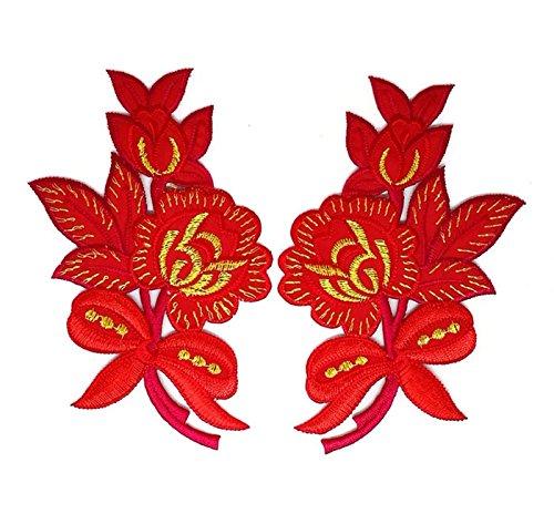Paar Rot Gold Rose Trim Floral Flower Patch Sew Iron on gesticktes Badge Symbol Custom Floral Gold Trim