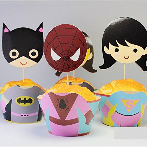 12 Wrapper und Topper zur Cupcake-Dekoration für Geburtstagsfeiern, mit Superhelden für Mädchen.