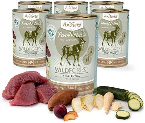 AniForte Natürliches Nassfutter für Hunde - WildForest Frisches Wild, Wildfleisch Futter hoher Fleisch-Anteil, Hundefutter für alle Hunderassen, getreidefrei, Ohne künstliche Zusätze - 6 x 400g