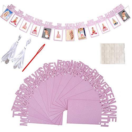 Amasawa Baby 0-12 Monat Foto Banner 1. Geburtstag Girlande Bilderrahmen Für Babyparty Taufe Dekoration Geburtstagsparty Dekorzubehör (Pink)