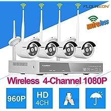 Kit de seguridad DVR 4CH 1080P HDMI inalámbrico WLAN CCTV DVR NVR 1.3MP Cámara IP de Seguridad, P2P, HD Imagen, IR-CUT, Detección de Movimiento (4CH 1080P NVR+960P Cámaras)