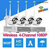 FLOUREON Wireless Kit Videosorveglianza ( 4CH 1080P NVR HDMI DVR + 4x 960P 1.3MP Telecamera Esterno...