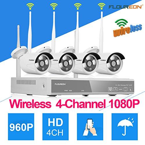 FLOUREON Wlan Videoüberwachung 4CH 1080P NVR + 4X 960P Überwachungskameras Outdoor Sicherheitskamera, P2P, Beweungsmelder, H.264, Wasserdicht, Nachsicht (4 Wireless-kamera-sicherheitssystem)