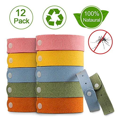 Nasharia Mückenschutz Armband, 12 Stück Anti Mosquito Bracelet Repellent Wasserdichtes Wristband Armband Natürliches Material Mücken Gürtel Schutz für Kinder, Erwachsene - Citronella Öl, Mückenschutz