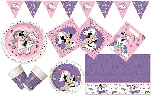 Procos 10133062 Kindergeburtstag Partyset M Disney Minnie Mouse and Unicorn, Einhorn, bunt