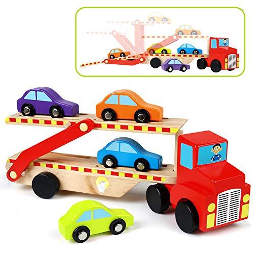 Symiu Transportador Camión de Madera Portacoches Juguete con Remolque de Dos Pisos y 4 Parking Coches de Madera para Niños 3 4 5