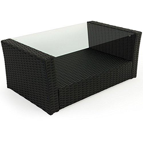 10 tlg. Polyrattan Sitzgruppe mit Glastisch – Sitzgarnitur Rattan Lounge mit 7cm dicken Sitzauflagen - 4