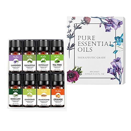 MJTP Set di 8 Oli Essenziali di aromaterapia Biologica, Olio Essenziale Naturale Puro al 100%, profumi più Popolari e Migliori miscele di Oli Essenz