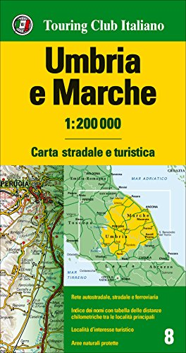 Umbria, marche 1:200.000. ediz. multilingue [lingua inglese]