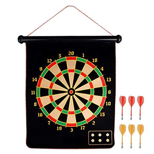 Magnetische Dartscheibe mit 12 Dartpfeilen + 6 Sichere Dart-Flights für Kinder und Erwachsene, doppelseitiges Aufrollen, für Büro, Zuhause, Outdoor-Spiel, Cooles Spielzeug