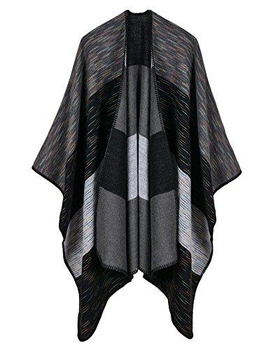 Inverno Reversibile Stripes pattern Donna Coperta Poncho Cape Scialle Sciarpa Oversize Nero