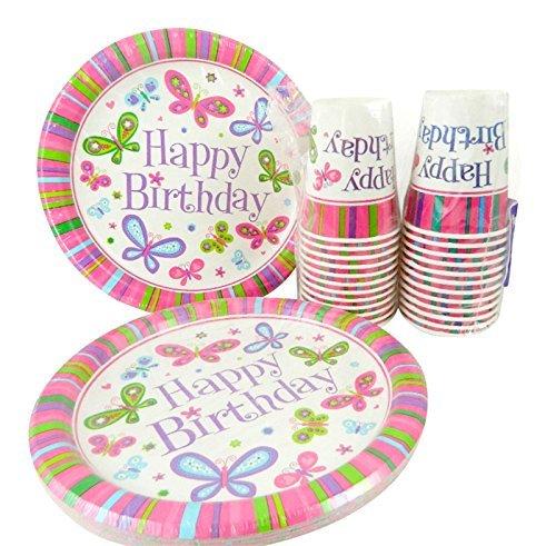 Happy Birthday Butterfly Girl Dinner Plates and Cups for 24 by Party (Happy Birthday Butterfly)