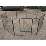 BUNNY BUSINESS Heavy Duty Puppy Play Pen/ Rabbit Enclosure 8 Panels, Large, Gunmetal Grey