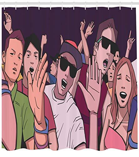 vorhang, Musik-Festival Cartoon-Bild, mit 12 Ringe Set Wasserdicht Stielvoll Modern Farbfest und Schimmel Resistent, 175x220 cm, Mehrfarbig ()