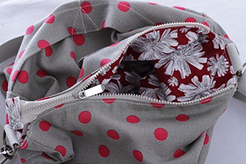Florence Happy @ England - Borsa a tracolla reversibile messaggero, in tela, chiusura a zip, motivo con rose e gufi Grey Red Spot / Red Daisy