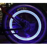 2 Stück Fahrradreifen Led Licht für Fahrradventile Fahrradventilkappen mit LED blau Fahrrad Reifenlicht