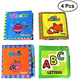 TOYMYTOY Baby Cloth Books,Baby's First Non-Toxic Soft Cloth Book Set Kids Early Learning Educational Book Toys,4pcs