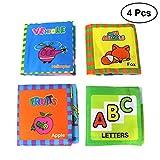 TOYMYTOY Livre Tissu Bébé,Bébé Lavable Souple Livre Enfants Précoce d'apprentissage Éducatif Livre Jouets pour Les Nourrissons Tout-Petits,4 Pcs