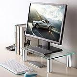 TAVR Furniture Elevador de pantalla de ordenador de altura ajustable de vidrio templado,39X26cm