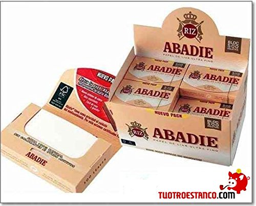 PAPEL DE FUMAR ABADIE 78MM BLOC 500 HOJAS (CADA ESTUCHE CONTIENE 20...
