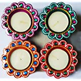 Diya For Decoration | Diya For Puja | Diya Holder Decorative | Terracotta Decorative Dipawali | Diwali Gifts And Decoration(Set Of 4,Handmade)