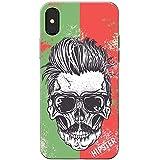 Grunge Cult Fun Tête de mort Art Hipster Musique téléphone Housse/Coque rigide pour Apple téléphone portable, Shades Wearing Moustache Skull, Apple iPhone X (iPhone 10)