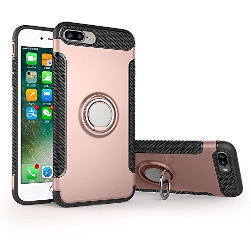 UKDANDANWEI Apple iPhone 8 Plus Hülle mit 360 Grad Full Body Ring Ständer, Hybrid Dual Layer Defender Handyhülle Case [Shock Proof] für Apple iPhone 8 Plus - Blau Roségold