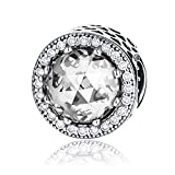 (Clear) - Radiant Hearts 925 Sterling Silver Charms Pandora European Bracelets Compatible