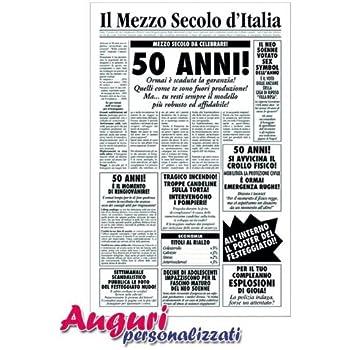 Bombo Biglietto Auguri Giornale Compleanno 50 Anni Amico Amazon It