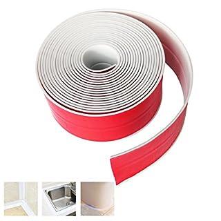CUKCIC Bathtub Caulk Strip PVC Acrylic Waterproof Adhesive Sealing Tape Kitchen Bathroom Tub Caulk Sealer 1×38mm×3.2m White