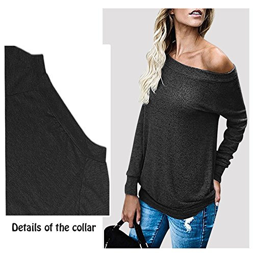 Exlura Femme Manches Longues Chemise Épaule T-Shirt Col Noir