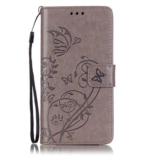 ISAKEN Custodia Huawei P9, Huawei P9 Flip Cover Wallet Cover Fiori Design in Pelle PU Protettiva Flip Portafoglio Cover Protezione Caso per con Supporto di Stand/Carte Slot/Chiusura - Flower: Grigio