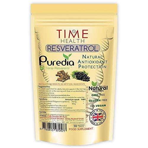 Trans-Resveratrol - 180 Kapseln - 3-Monatsvorrat - Aufgeteilte Dosierung von Trans-Resveratrol für maximale Vorteile - Natürlich - Ohne Zusätze