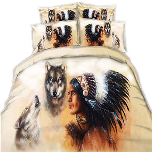 CHAOSE-DEB Indianer und Wölfe und Golden Dragon Bettwäsche Set,Superweiche Polyester-Baumwolle,3-teilig (1 Bettbezug + 2 Kissenbezüge 48x74cm) (Indianer und Wölfe, Single Size(135x200CM Einzelbett))