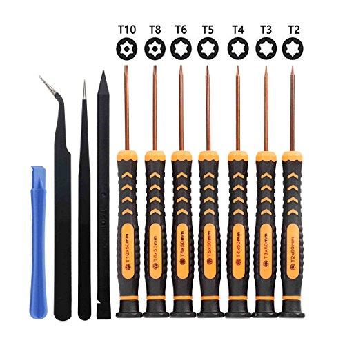 Torx Schraubendreher Satz mit T10 T8 T6 T5 T4 T3 T2 Sicherheits Stern Torx Bit - Innen Torx Schraubenzieher Werkzeug mit Loch Set for xbox one Controller, ps4, ps3 (Schraubendreher-bit-sicherheit,)