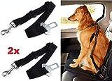 hallenwerk 2X Stück Verstellbare Reißfester Sicherheitsgürtel Auto-Gurt für Hunde mit Karabiner & Bolzenhaken zum Anschnallen Ihres Haustiere für Mehr Sicherheit während der Fahrt