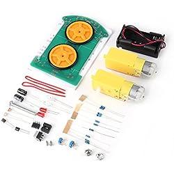 Kit de Robot Coche Inteligente Conjunto de Componentes Electrónicos de Coche Rastreador de Línea