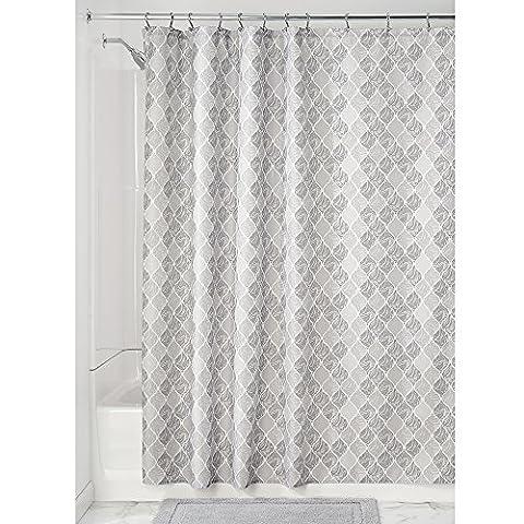 InterDesign Moroccan Duschvorhang aus Stoff | Duschabtrennung für Badewanne und Duschwanne | Textil Duschvorhang mit den Maßen 183 cm x 183 cm aus Stoff | Polyester grau