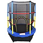"""Greenbay 4.5FT 55"""" Kids Trampoline Complete Set with Safety Net and Skirt Child Indoor Outdoor Activity Blue"""